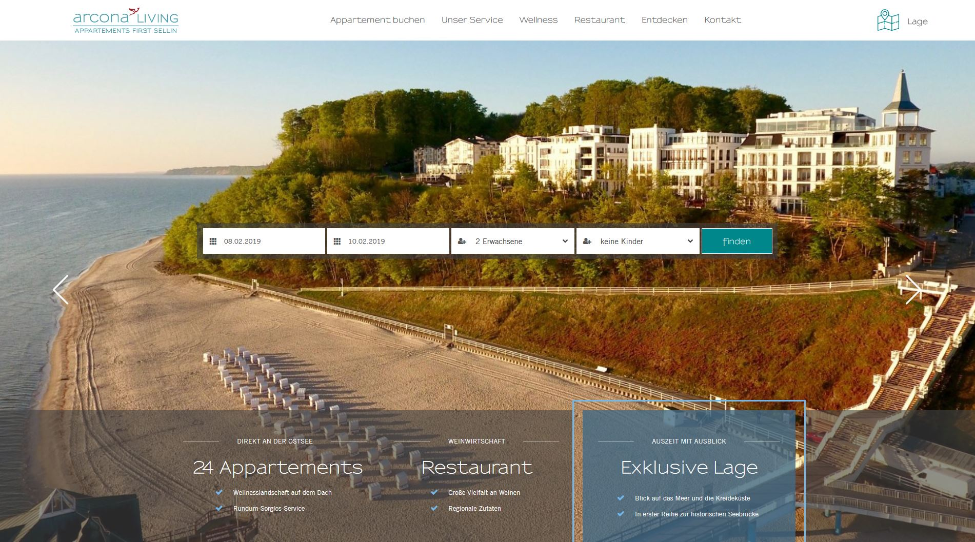 Arcona Living First Sellin Homepage